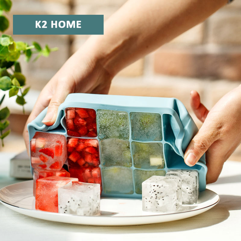 Silicone Ice Mold Maker Durable Mold for Large Ice Cube Silicone Ice Cube Tray BPA Free Ice Making Tray Molds Blue(China (Mainland))