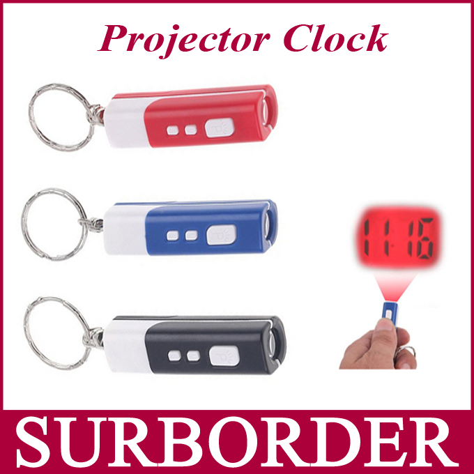 Mini Night Red Light Projection Display Laser Pen Shaped Projector Clock with Keychain Three Color Options Blue Black Red(China (Mainland))