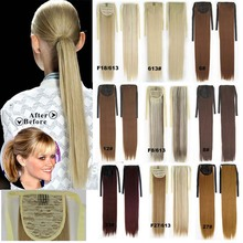 8Colors Available Clip in Ribbon Ponytail Hairpieces Synthetic Hair Tail Straight Ponytail Hair Extensions Drawstring Ponytail