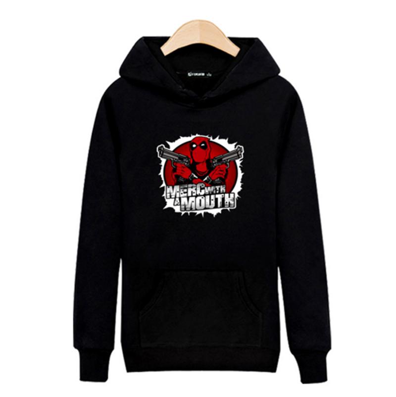 Bad ass Deadpool Hooded Mens Hoodies and Sweatshirts Sets Sports Dead Pool Black Cotton Hoodies Sweatshirt Men Brand Fashion(China (Mainland))