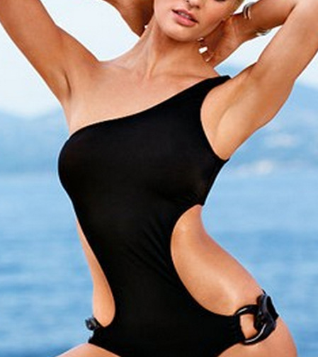 2015 3 Colors Sexy Women One Piece Black Swimwear Bathing Suit Hot one shoulder Swimsuit Beach Swim Suits High Waist N158(China (Mainland))