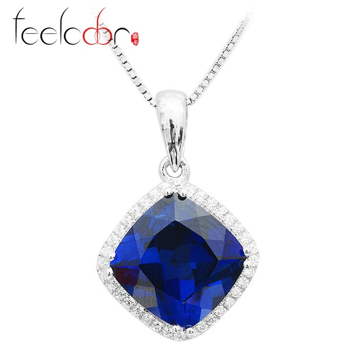 Christmas Gift Cushion 7ct Gem Engagement Wedding Blue Sapphire Pendant Necklace Set Genuine Real Pure Solid 925 Sterling Silver<br><br>Aliexpress