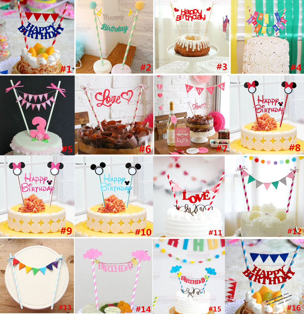 JOY-ENLIFE 1set Happy Birthday Cake Toppers baby shower party decoration party favor for kids birthday party supplies(China (Mainland))