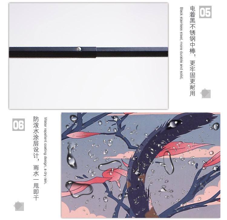 96 CM 3D  8 ribs 3D CM Printing Japanese Mount Fuji and Cat Umbrella ... 63f21b