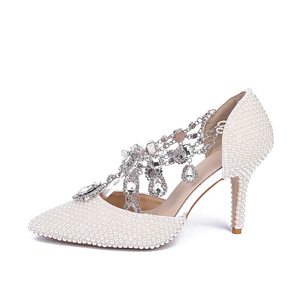 White High Heels With Diamonds