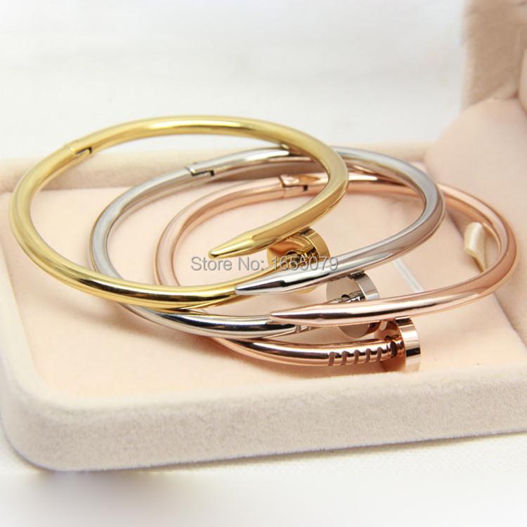 2015 18 k Gold Screw Nail Bracelet Silver Jewelry CA Crossfit Bangles to.us bear Carter Cuff For Women Pulseiras Femininas(China (Mainland))