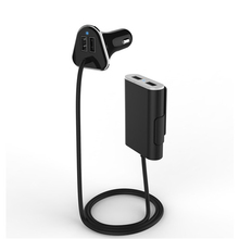 Best-selling 9.6A 4 USB car charger with 1.8m Cable for phones and ipad pront and back seat(China (Mainland))