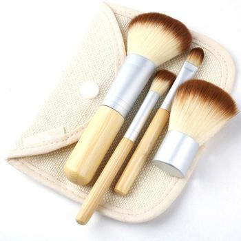 Hot Sale 4Pcs Earth-Friendly Bamboo Elaborate Makeup Brush Sets  #4324