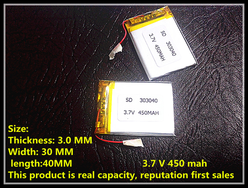 Manufacturers specialized 3.7 V lithium polymer battery 303040 driving record Bluetooth stereo pedometer 450 mah(China (Mainland))