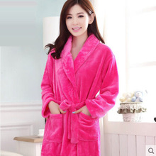 Solid Bath Robe Female Male Coral Fleece Bathrobe For Girls Night Gown Long Sleeve Bathrobes Thickening Warm Lounge Robes(China (Mainland))