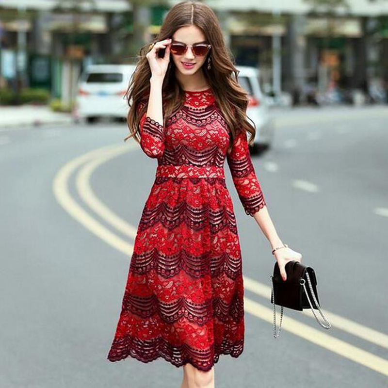 2016 New Casual Women Sexy Europe Style Dresses Trendy Lace wave dress hollow out sheath Summer office dress plus size(China (Mainland))