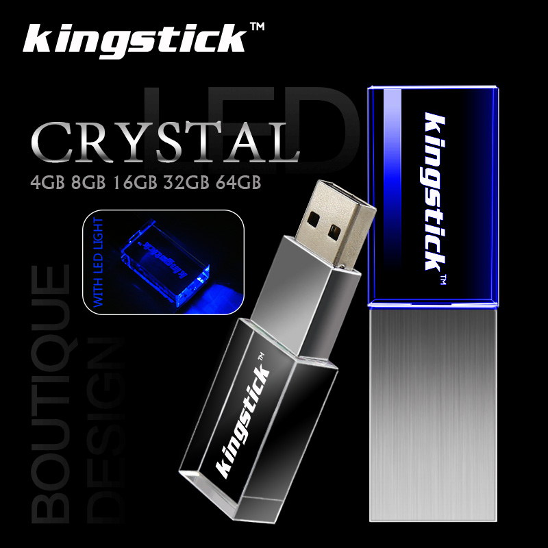 Crystal Kingstick 4GB 8GB 16GB 32GB 64GB USB Flash Drive shine pen drive USB 2.0 memory stick pendrive high speed fashion gift(China (Mainland))