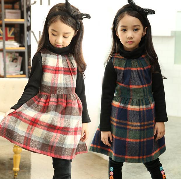 Новая Осень Зима Платья Девушки новорожденных Девочек Шотландский килт платья дети Сетка платье