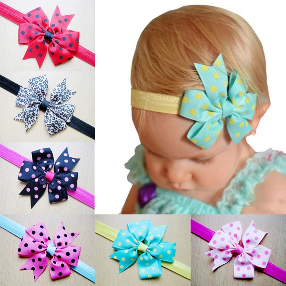2016 New Children Flower Hairband Polka Dot Butterfly Knot Flower Headband Color Randomly Delivered BB-333(China (Mainland))
