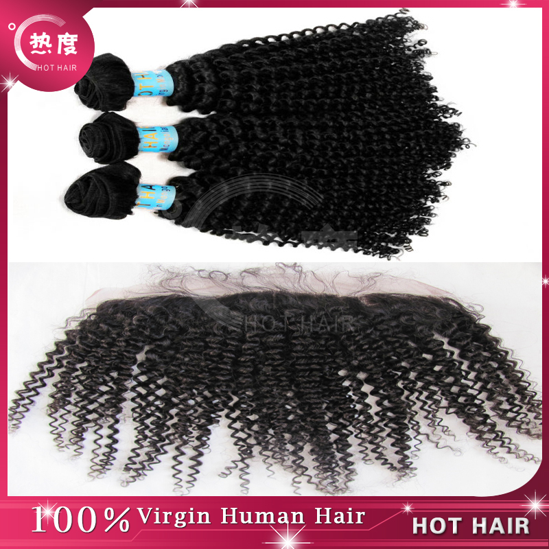Virgin Mongolian Kinky Curly Hair with 13*4 Lace Frontal Closure, Free Shipping Mongolian Hair<br><br>Aliexpress
