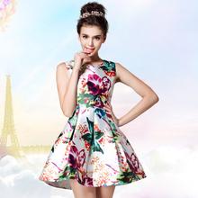 2015 Casual Girls Vestidos Summer Style Fashion Mini Short Runway Dress Slim Print Painted Flower House Red White Women Dresses(China (Mainland))