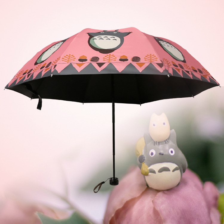 Japan Hayao Miyazaki Manual Black Glue Sun Umbrella Totoro Cartoon Game Advertising Kids/280g/118cm(China (Mainland))