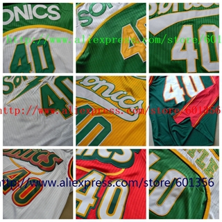 product New Arrival #40 Shawn Kemp Jersey Retro Throwback Basketball Jersey Seattle SuperSonics JerseyWhite Green Jersey free shipping