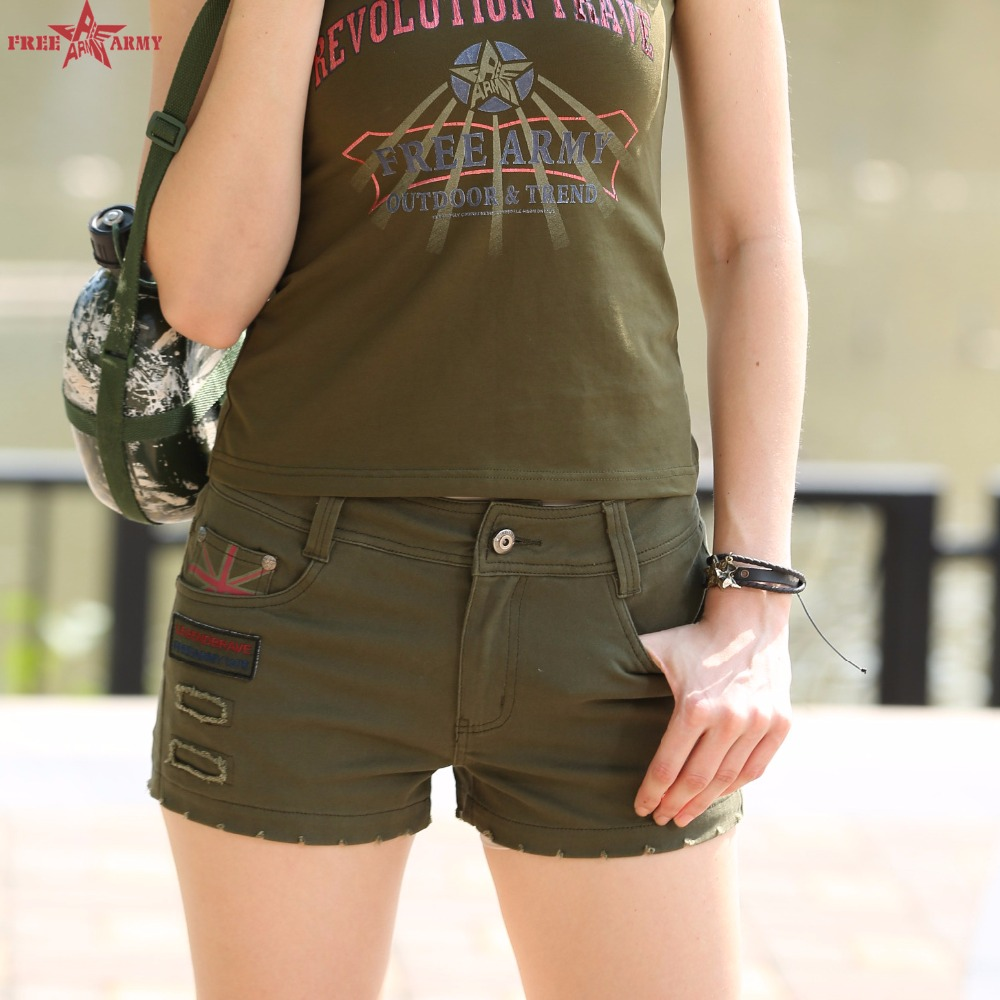 Army Green Women Shorts Mini Shorts Summer Women Loose Cton Casual Pantalon Femme Camouflage Shorts HOT GK-9502A P32(China (Mainland))