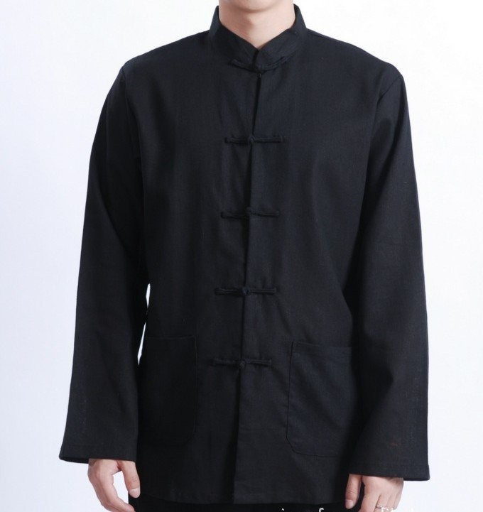 Free Shipping Black Spring Vintage Chinese Men's Linen Jacket Coat with Pocket Size S M L XL XXL XXXL M1083#(China (Mainland))