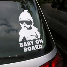 Fashion Lovely Baby On Board Warning Decal Reflective Waterproof Car Window Vinyl Stickers Color Black White(China (Mainland))