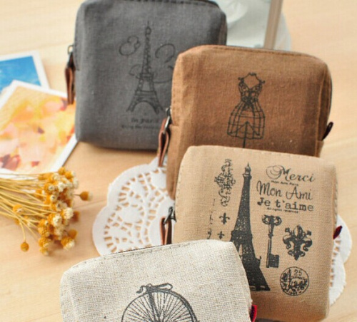[ 4 Designs Retro Paris ] - Canvas Mini Storage Box & Keys BAG Holder Case ; Lady Girl's Hand & Pocket Coin Purse Wallet Case(China (Mainland))