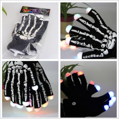Free Shipping Black Skeleton LED Gloves Light Up Flashing Finger Lighting Glow Hip-Hop Style(China (Mainland))