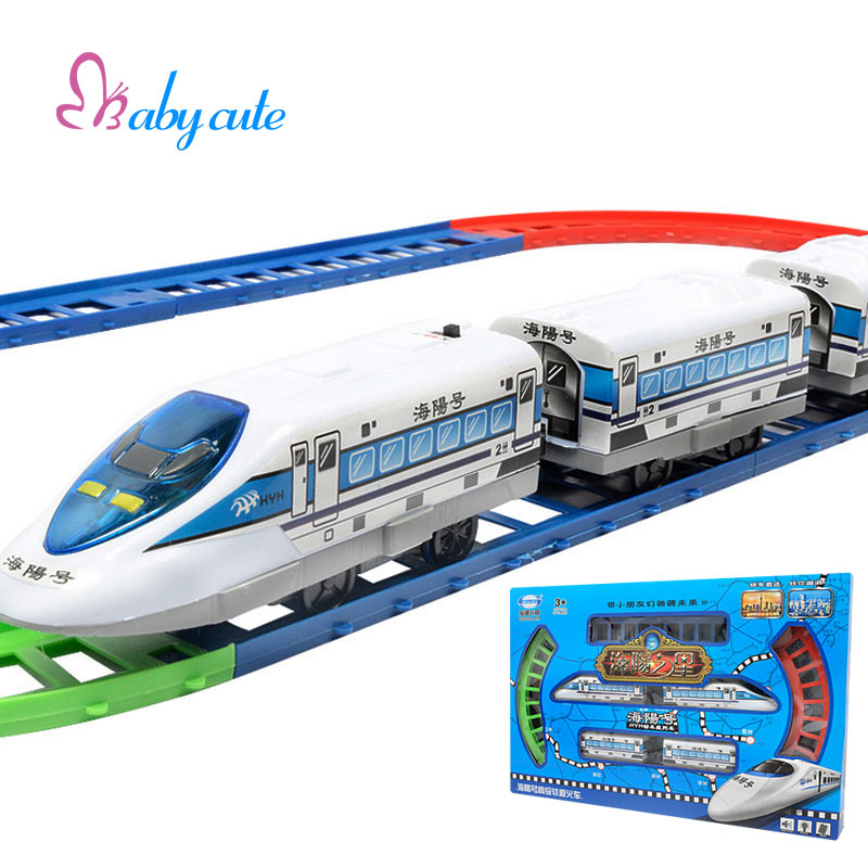 Brinquedos Electronic Toys 3 Parts Railway Running Train With Whistle Sound Track Slot Funny Toys For Children Brithday Gift(China (Mainland))