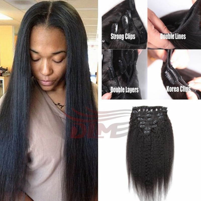 Italian Coarse Yaki Clip In Hair Extensions Natural Color 7A Malaysian Virgin Yaki Straight Clip In Hair Extension 7PCS 100G