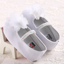 hot selling cotton white flower babay girl crib shoes toddler first walkers(China (Mainland))