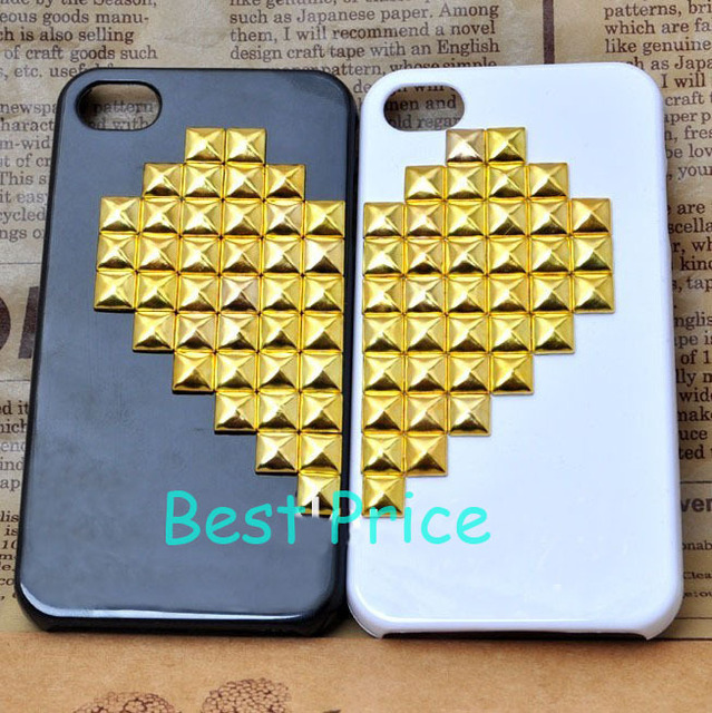 DIY Handmade Cell Phone Case for iPhone 4 4s 5, Golden Studs Rivets Heart, 2PCS/Pair for Lovers(Black and White), Free Shipping