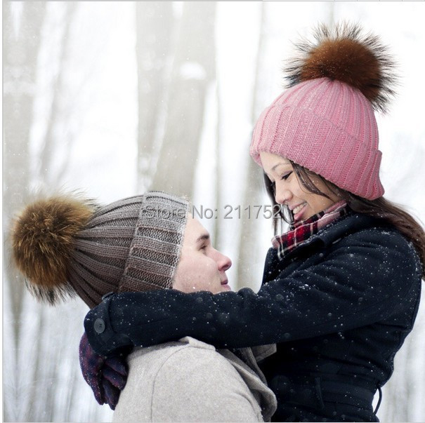 Free Shipping Winter Woman's Cap Ladies Knitted Hats & Caps With Natural Fur pom Poms Beanies(China (Mainland))