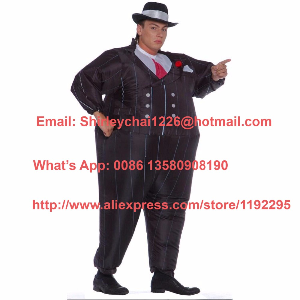 2016 New gangster inflatable costume halloween costume for men inflatable suit black suits inflatable Gangster carnival costume(China (Mainland))