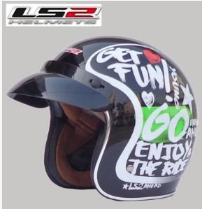 Free shipping LS2 OF583 Prince retro helmet helmet motorcycle helmet/Black / Love