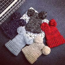 New arrive female new arrive winter hat women two pom poms beanie lovely 5 color(China (Mainland))