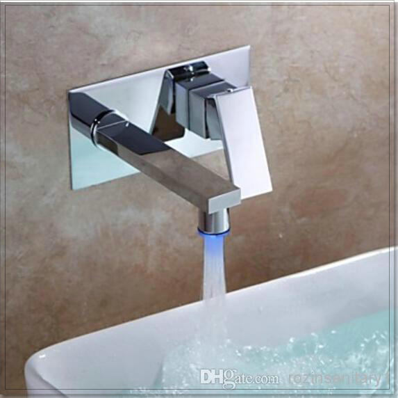 New Chrome Brass Bathroom Basin Faucet Single Hand Mixer Tap LED Color Changing water fall chrome faucet(China (Mainland))