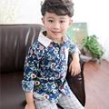 Spring Summer Shirts Boys Clothes Long Sleeve Fashion Button Boys Floral Shirt Turn Down Collar Kids