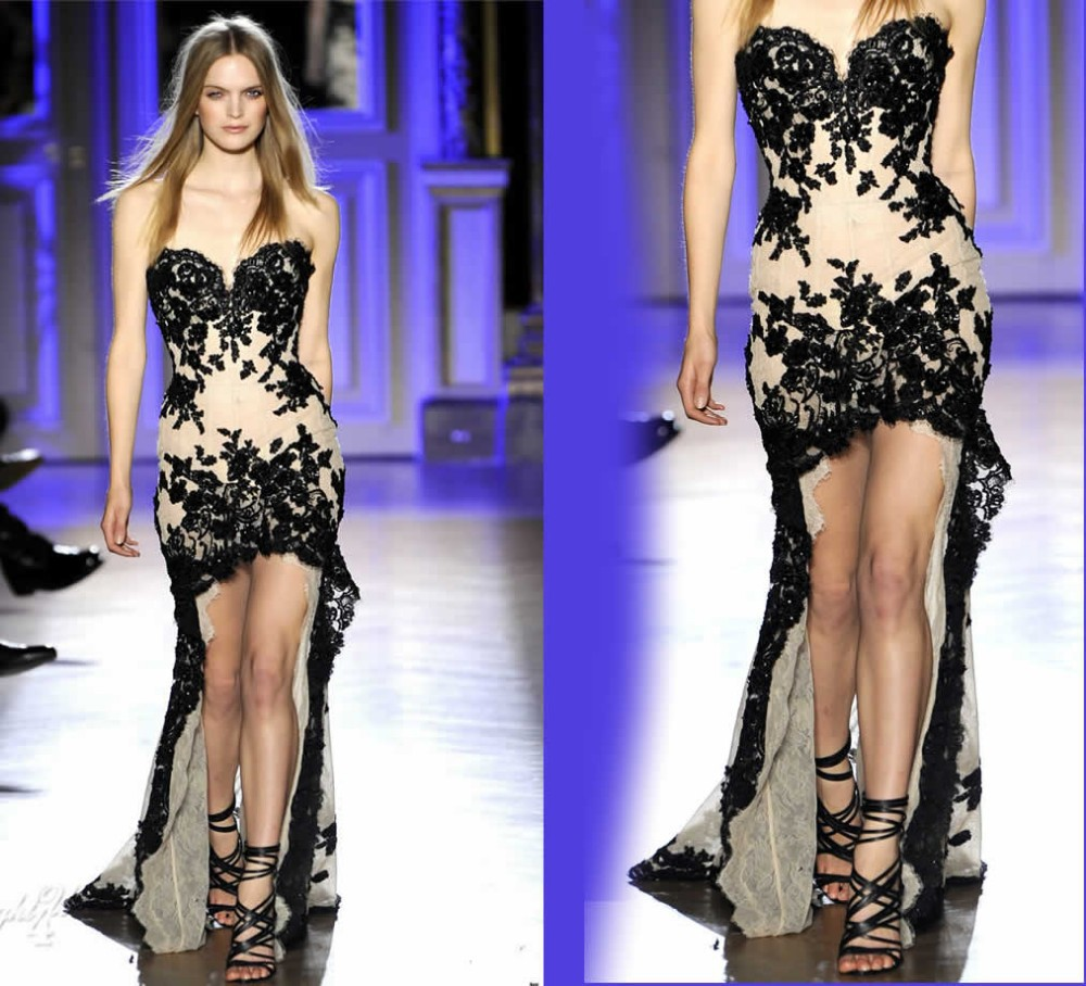 2015 new sexy black lace appliqued high low top designer zuhair murad evening dresses prom. Black Bedroom Furniture Sets. Home Design Ideas