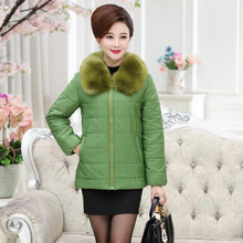 Buy Fur Collar Zipper Cotton-Padded Jacket Middle Age Mother Winter Warm Thick Plus Size Women Solid Wadded Coat Outerwear 4XL 3XL for $27.99 in AliExpress store