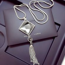 Buy High square crystal pendant long tassels gold chain necklace women's fashion jewelry wholesale 2016 silver chain for $3.15 in AliExpress store
