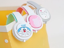 2016 Doraemon Headphone with Mic for Iphone 5 5s 6 6plus cute music stereo kids mobile phone headset cartoon headband X21