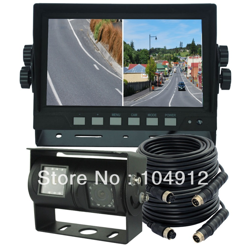 Skid Steer Backup Camera System : Quot digital quad monitor dual twin double rear view backup