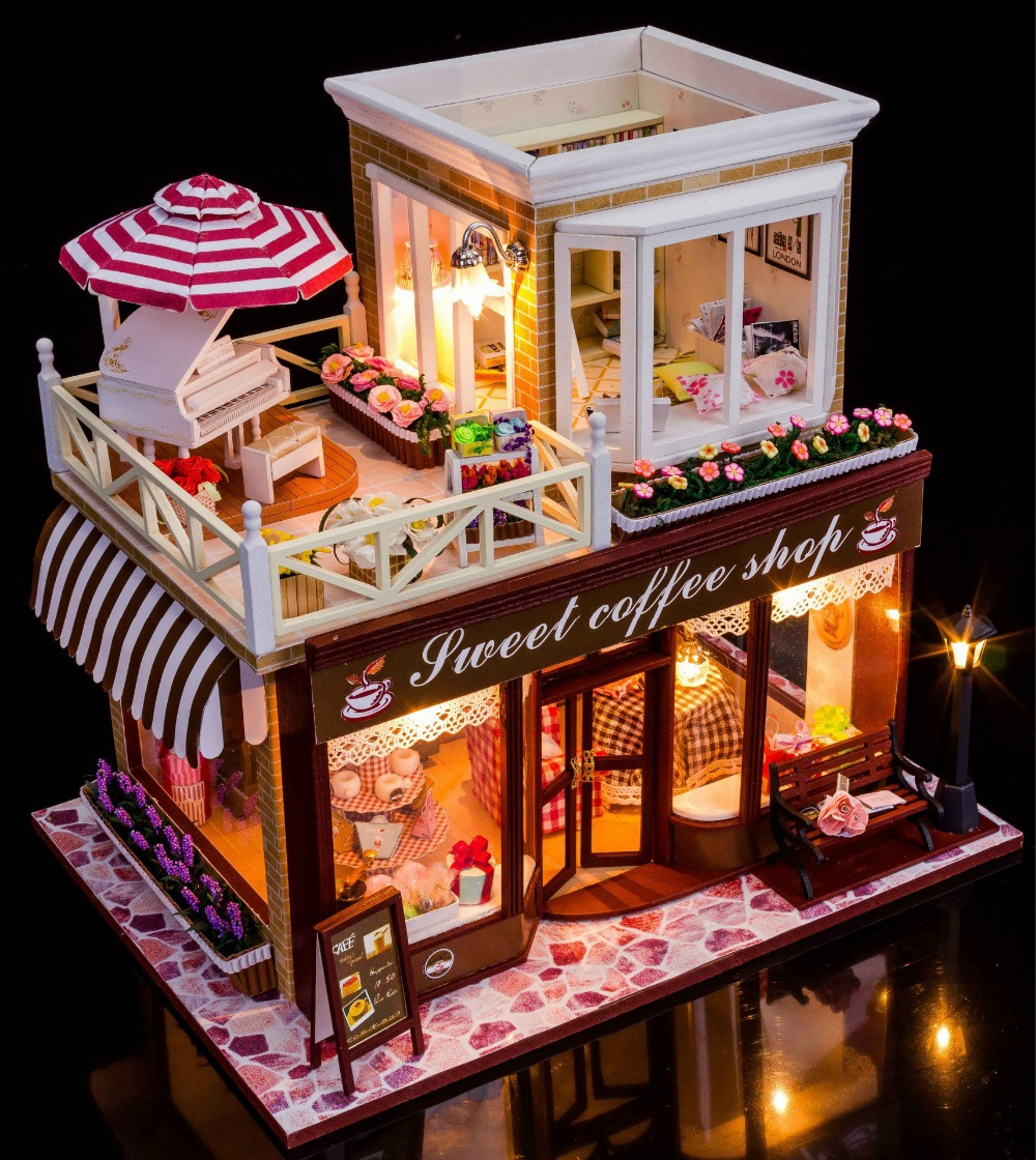 Sweet Coffee Shop France Style DIY Doll house 3D Miniature ...