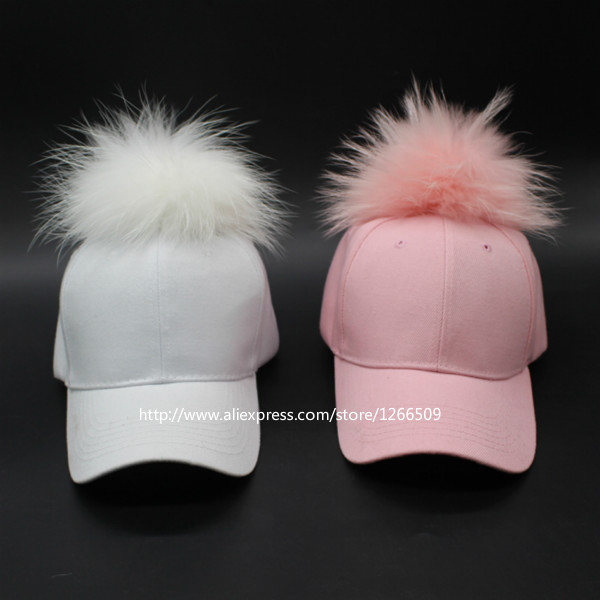 Pink Blue Black White Women Real Dyeing Raccoon Fur Pompom Winter Cap Lady Fox Pompon Fur Ball Snapback Baseball Cap Hat Hip Hop(China (Mainland))