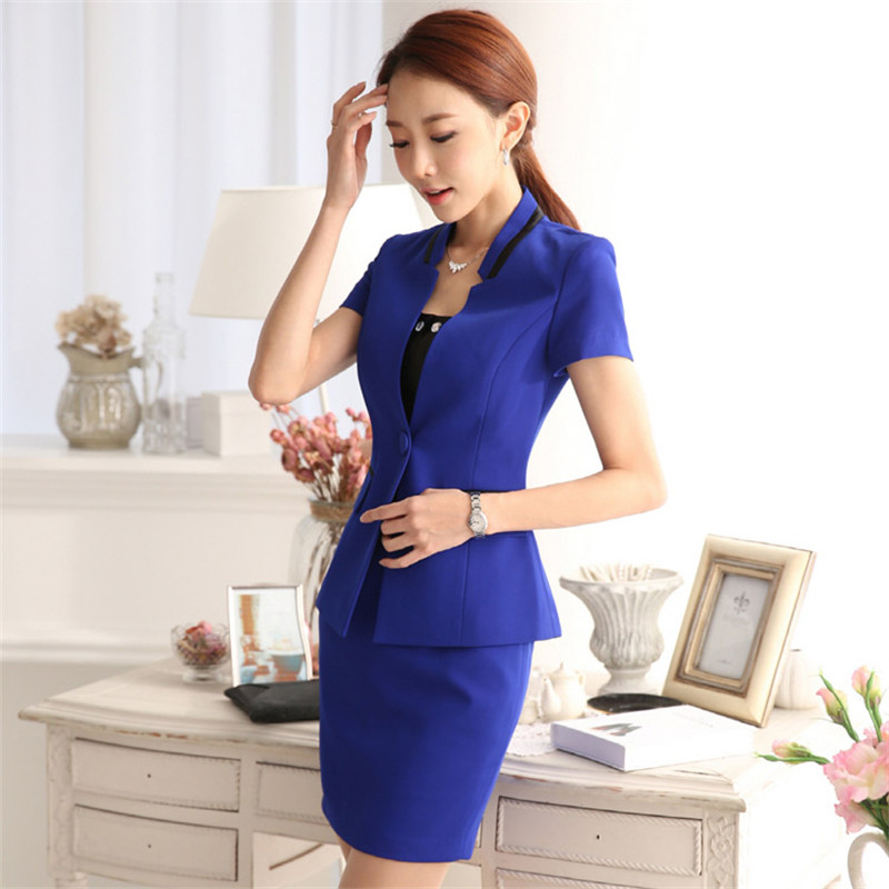 Professional summer business suit for women plus size skirt suits slim work wear office ladies short sleeve blazer with skirts