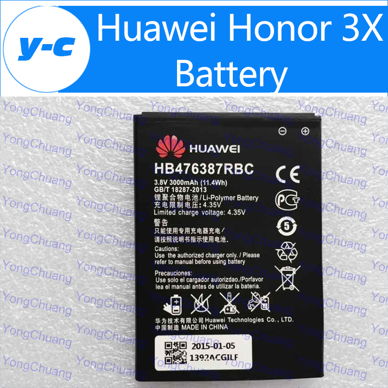 Huawei honor 3X Battery HB476387RBC New Original 3000mAh High Capacity Rechargeable battery Huawei G750 B199- In Stock Free Ship(China (Mainland))