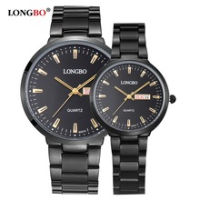 LONGBO Luxury Lovers Couple Watches Men Date Day Waterproof Women Gold Stainless Steel Quartz Wristwatch Montre Homme 80075