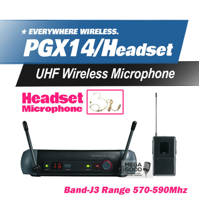 FreeShipping! PGX PGX14 WH30 WL93 UHF Professional Karaoke Wireless Microphone System with Condenser Skin Headset Mic 570-590Mhz(China (Mainland))