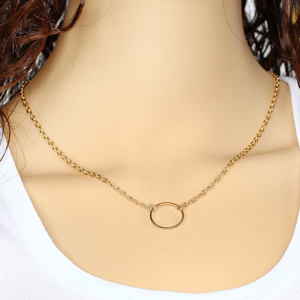 Simple Gold Plated Chain Circle Pendant Necklace Summer Style Women Jewelry(China (Mainland))