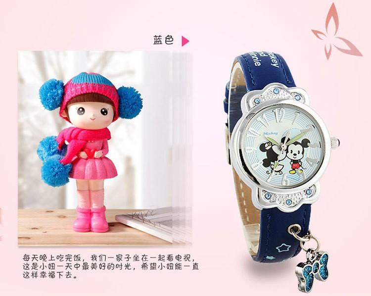 Disney бренда Микки детские часы Мальчики девочки 30 м водонепроницаемый кварцевые часы дети часы Аниме Мультфильм часы